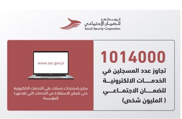 الاردن الضمان: عدد الأفراد المسجلين في الخدمات الإلكترونية تجاوز المليون