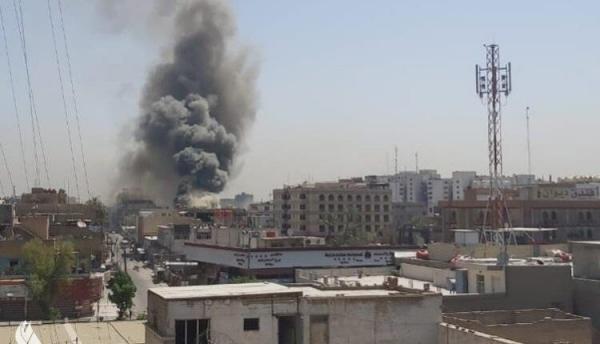 اندلاع حريق كبير في مخزن تجاري وسط بغداد